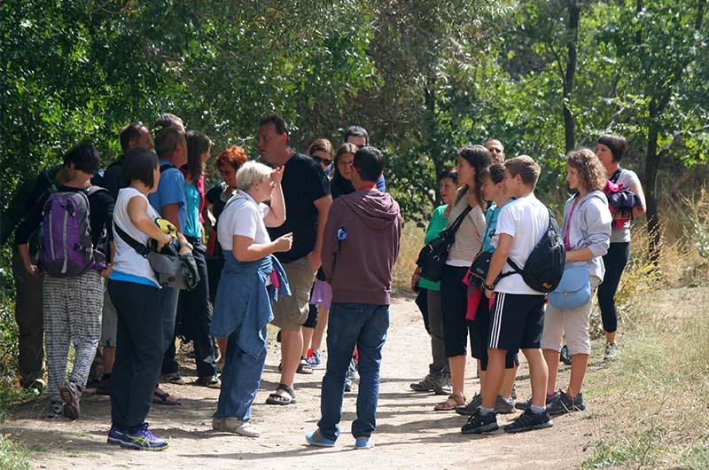 Группа туристов в в составе организованной экскурсии.