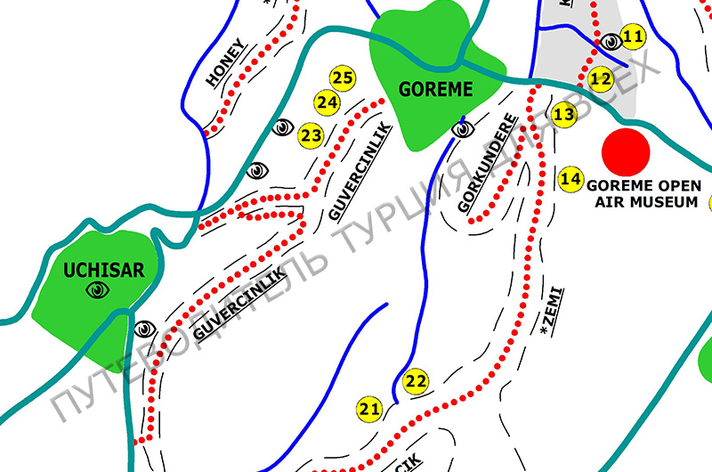 Долина Голубятен (Güvercinlik, Гюверджинлик) на карте пешеходных маршрутов около Гереме.