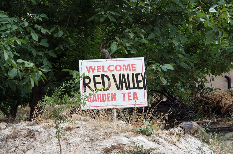 """На табличке: """"Добро пожаловать в Красную долину и кафе «Чайный сад»""""."""