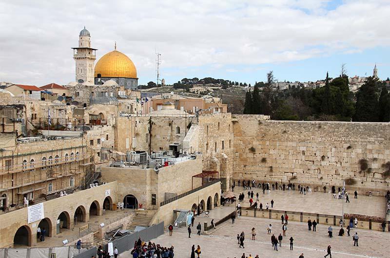 Вид на Стену Плача в Иерусалиме (Израиль).
