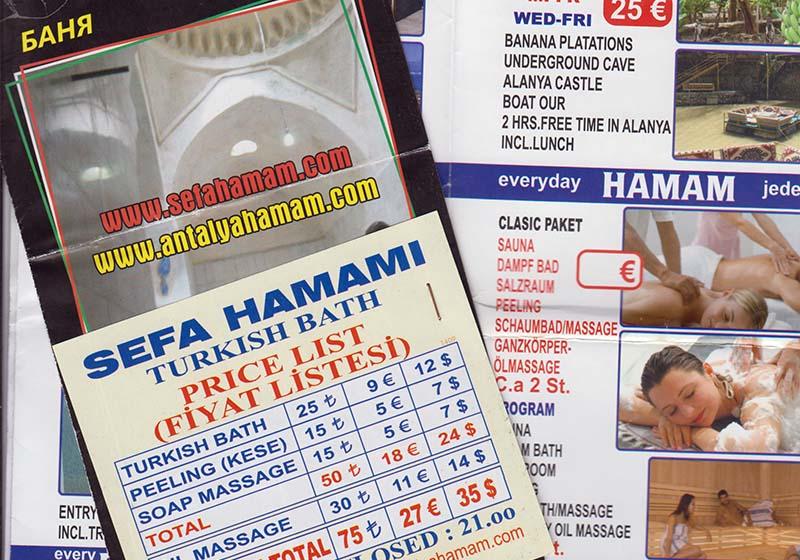 Листовки с рекламой хамамов.