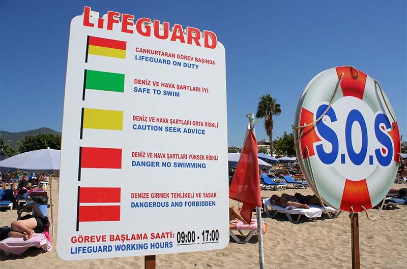 Информационный стенд, который объясняет значение флагов, показывающих состояние моря.