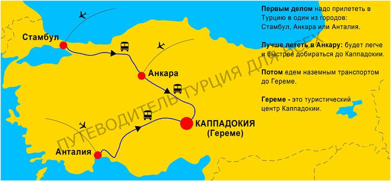 Как добраться до Каппадокии из России, Украины, Белоруссии