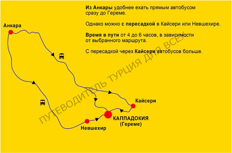 Схема: как добраться автобусом из Анкары до Каппадокии (Гереме)