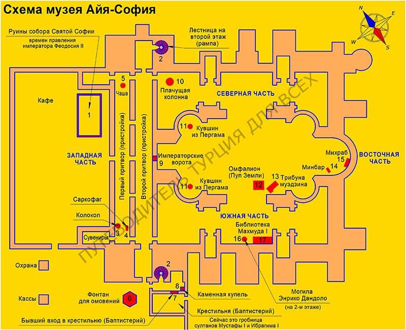 Схема музея Айя-София в Стамбуле. Красным цветом обозначены особо интересные места в соборе.