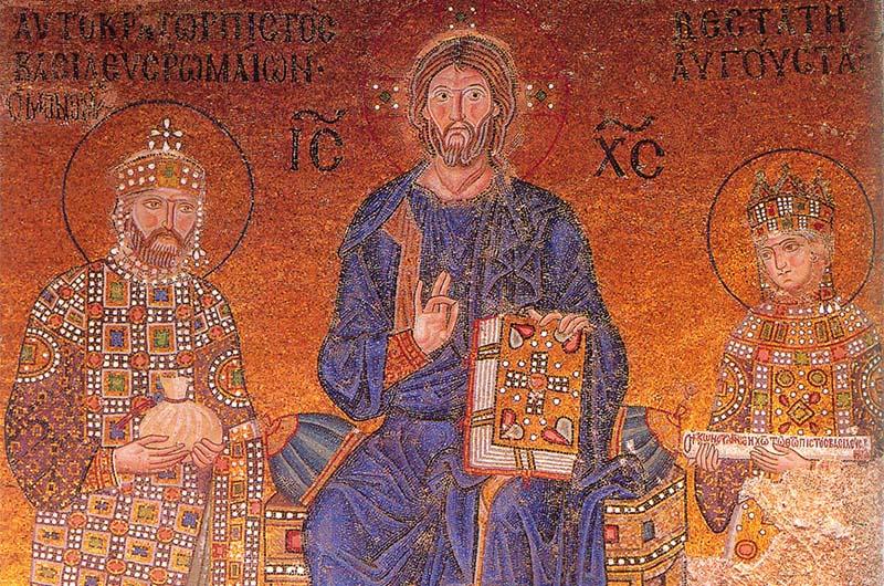 Мозаика Император Константин Мономах, Христос и императрица Зоя (около 1044 г.)
