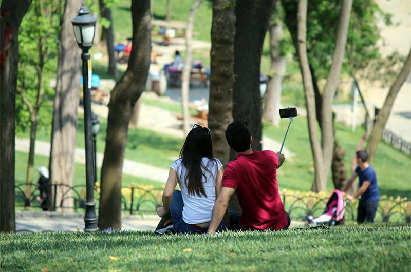 Отдыхающие в парке.