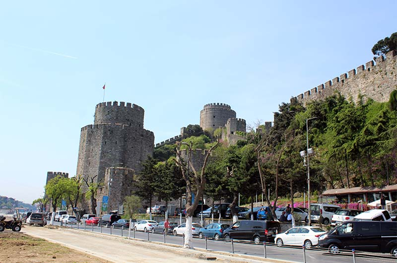 Вид на крепость со стороны дороги.