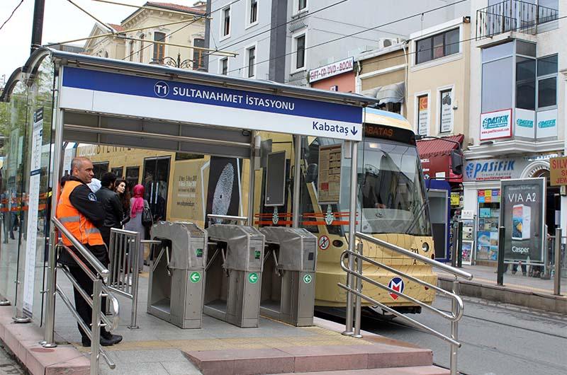 Остановка Султанахмет. Маршрут трамвая Т1.