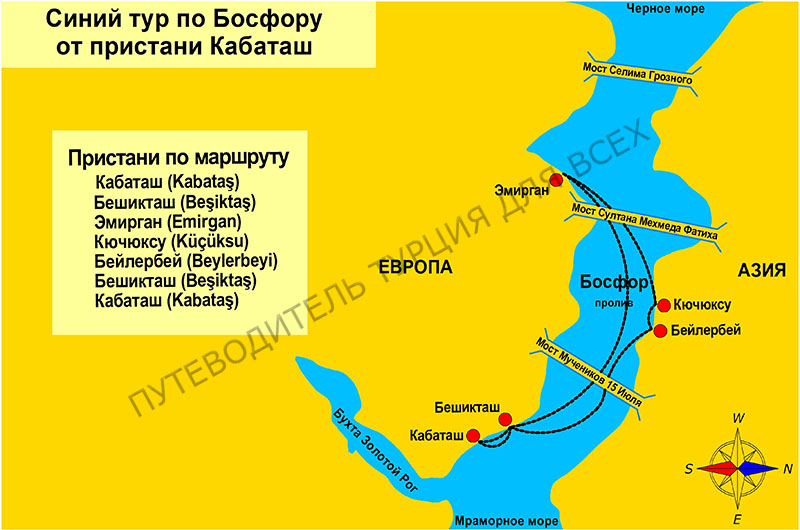 Схема синего тура по Босфору.