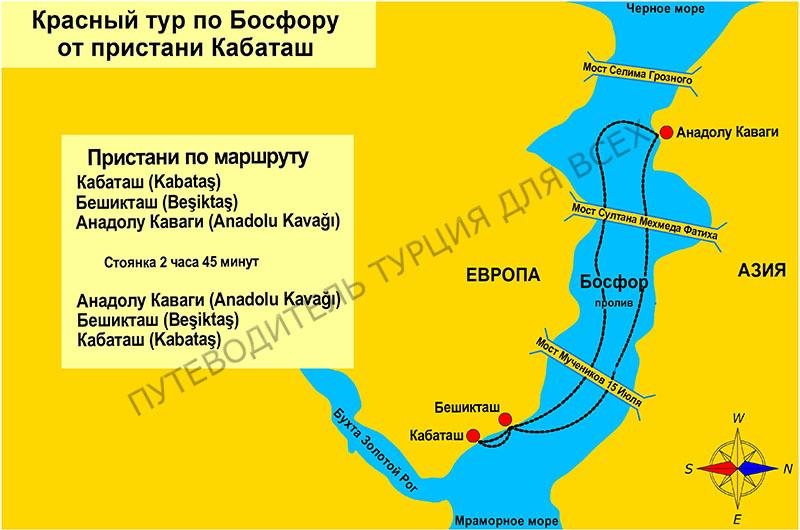 Схема красного тура по Босфору.