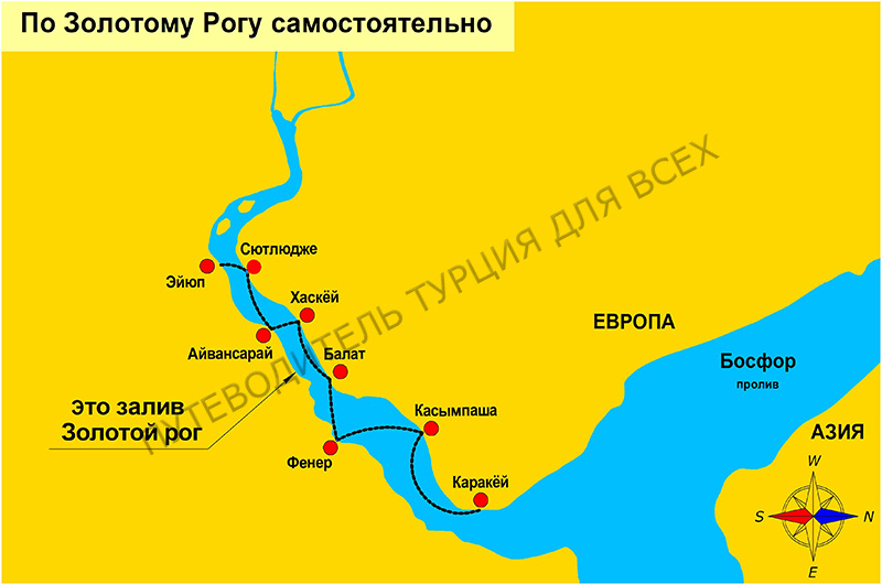 Схема маршрута парома по Золотому Рогу от пристани Каракёй.