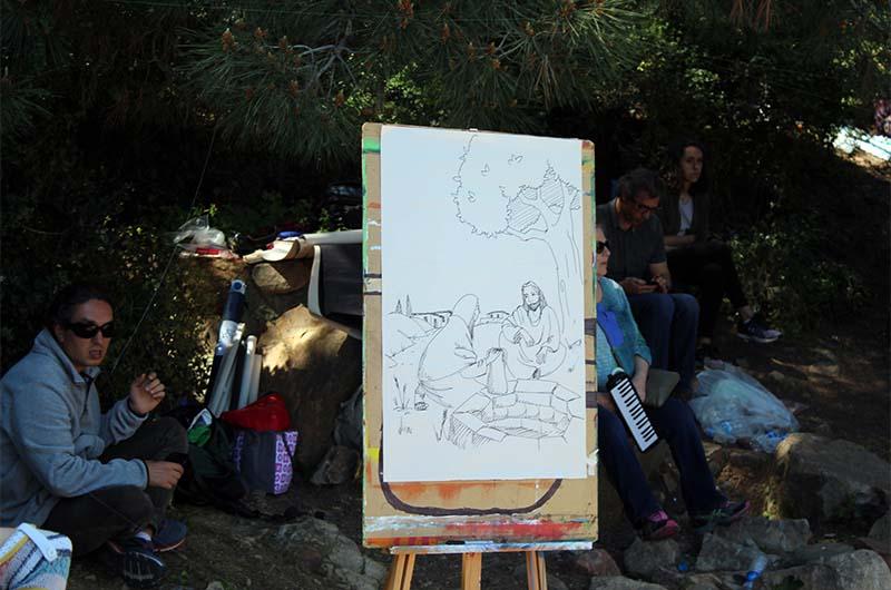 На рисунке сцена из жизни Иисуса.