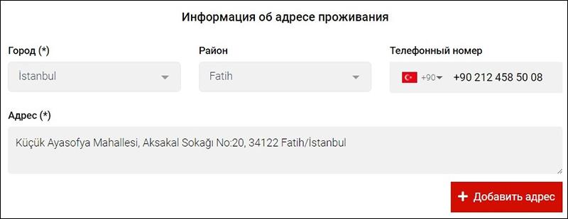 Шаг 2. Заполняем адрес, где будем жить в Турции.