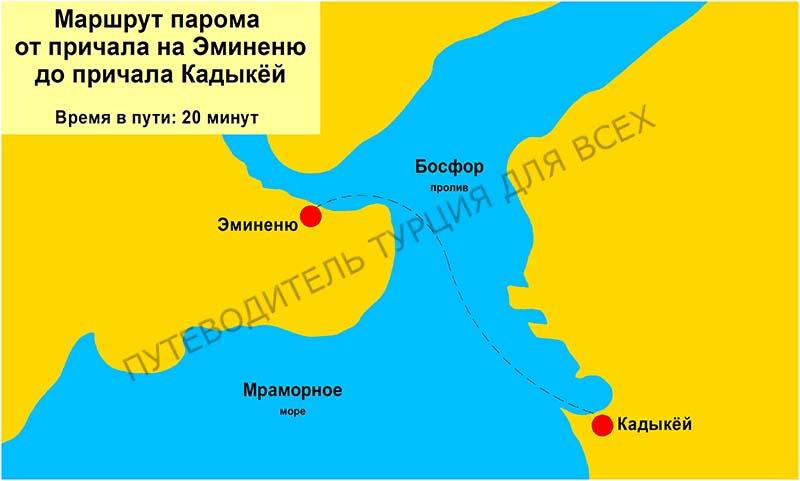 Маршрут народного парома от Эминеню до Кадыкёя.