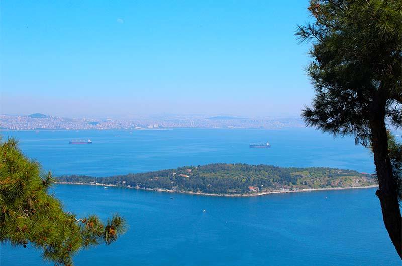 Вот так выглядит остров Седефадасы со смотровой площадки около монастыря святого Георгия Кудунского на острове Бююкада.